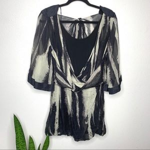 L.A.M.B. 100% Silk Tye Dye Print layered Tunic